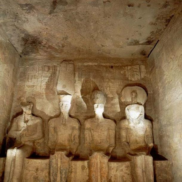 Abu Simbel temple, four statues of divinities in the Inner Sanctum