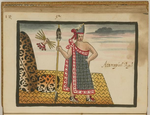 Acamapichtli, the first tlatoani of Tenochtitlan, as depicted in the Tovar Codex. (Public Domain)