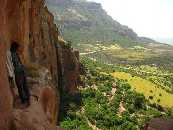 Access to the Abba Yohani church is via tunnels and along a ledge with breathtaking views of the area
