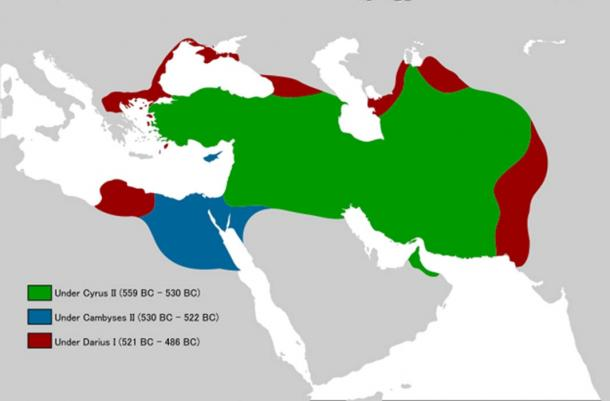 Map of the expansion process of Achaemenid territories under different kings.