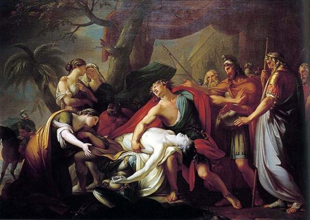 Achilles Lamenting the Death of Patroclus (1760-1763) by Gavin Hamilton.
