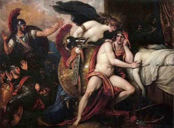 Achilles beside the body of Patroclus as his mother brings him armor to avenge his death. The relationship between Patroclus and Achilles has historically caused speculation. (Public domain)