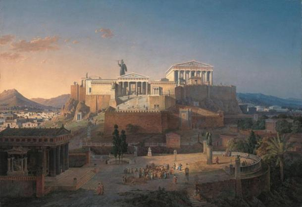 Reconstruction of the Acropolis and Areus Pagus in Athens, Leo von Klenze, 1846.