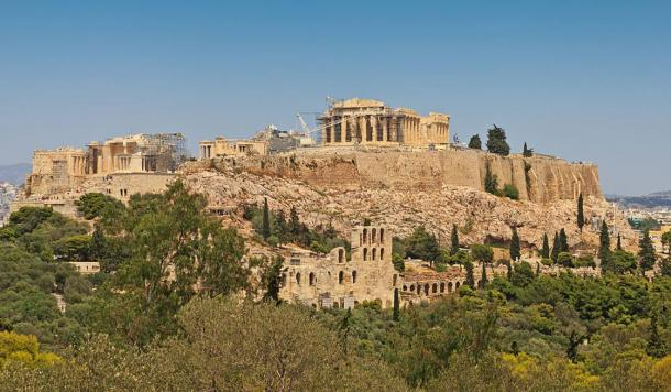 The Acropolis of Athens, as seen from Philopappou Hill. A.
