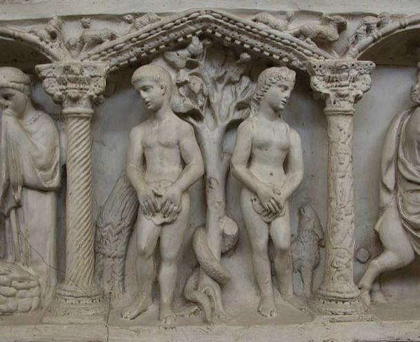 Adam and Eve on Junius Bassus' sarcophagus.