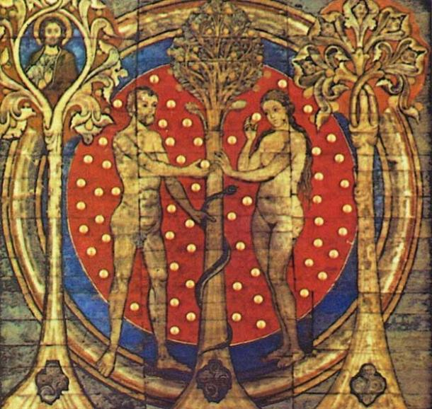 Adam and Eve: Benedictine monastery St. Michael's Church, Hildesheim, Germany