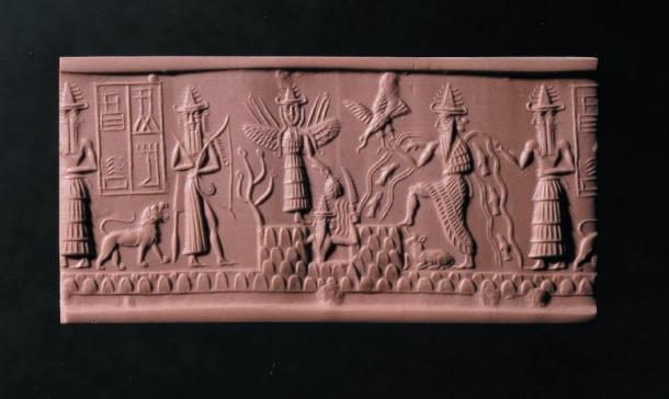 The Adda Seal featuring the god Ea second from the right. (Image: The Trustees of the British Museum)