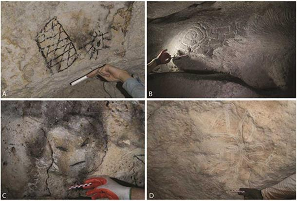 Additive and extractive designs from the dark zones of three caves on Mona. A) charcoal drawn motifs; B) finger-fluted motifs and area of systematic extraction (right hand side); C) charcoal drawn face; D) finger-fluted face with limbs and appendages.