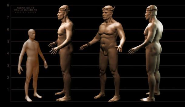 "Artist's representation of the ""Adena Giant"", Prehistoric Mound Builders. [Image copyrighted © by MARCIA K MOORE CIAMAR STUDIO. The use of which is prohibited unless prior written permission from the artist is obtained. Contact Marcia K Moore"