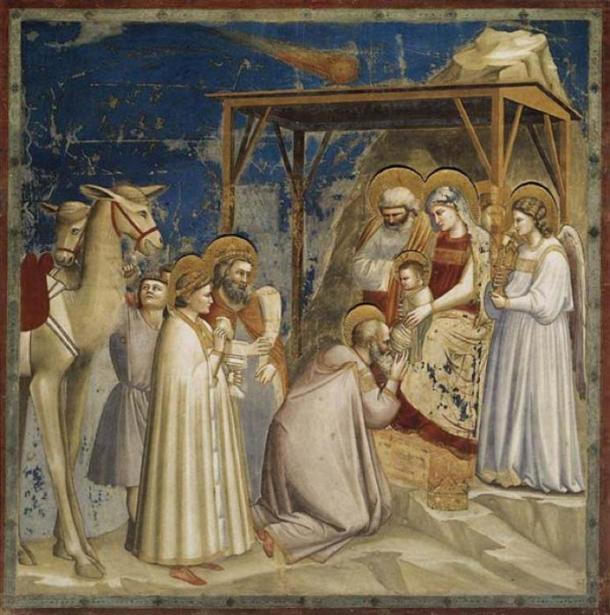 Original Title: Adorazione dei Magi, c.1304 - c.1306, Fresco. Series: Scenes from the Life of Christ. Scrovegni (Arena) Chapel, Padua, Italy. (Public Domain)