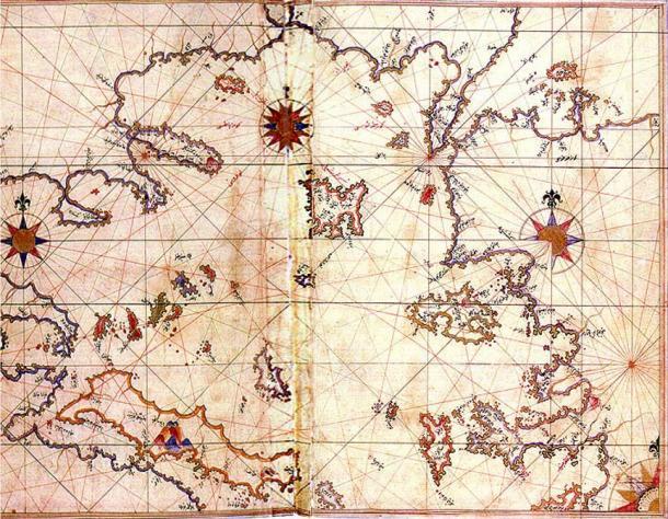 Historic map (1528) of Aegean Sea by geographer Piri Reis.