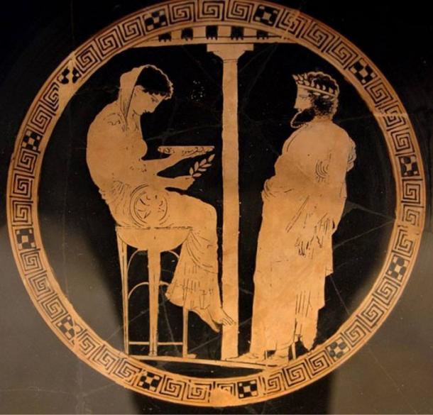 Aegeus consults with Themis, Oracle of Delphi.  Circa 440–430 B.C.