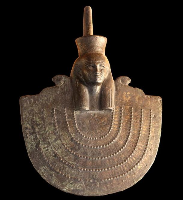 Aegis of Neith from the Late Period, Twenty-sixth dynasty (ca. 664-525 BC) golden bronze, Museum of Fine Arts of Lyon.