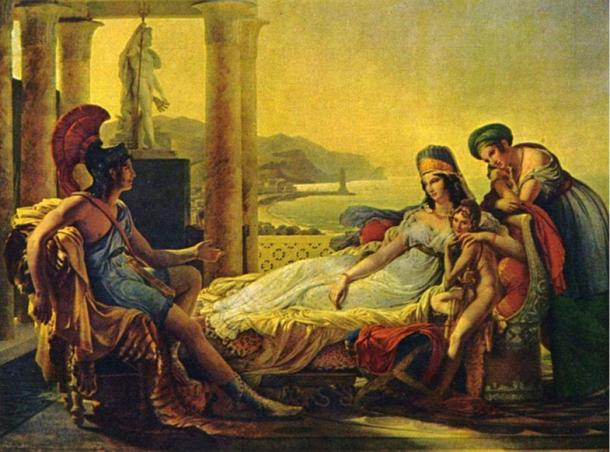 Aeneas recounting the Trojan War to Dido, a painting by Pierre-Narcisse Guérin, 1815. This scene is taken from Virgil's Aeneid, where Dido falls in love with, only to be left by, the Trojan hero Aeneas.