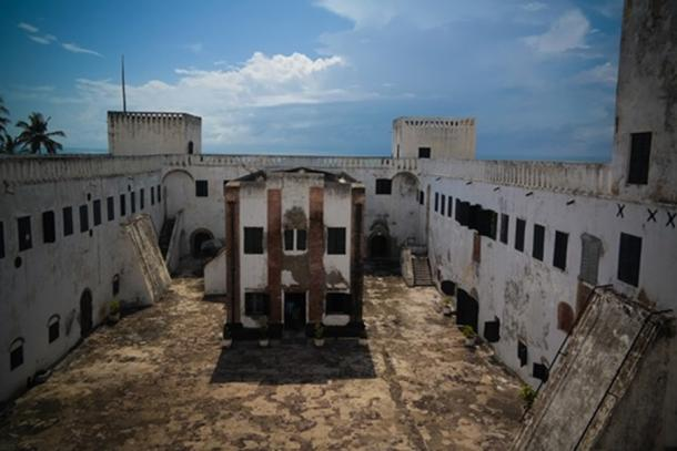 Aerial Interior view to Elmina castle and fortress with church, Ghana (Fotolia)