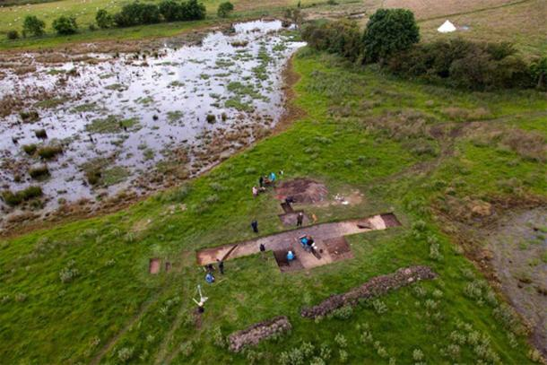 Aerial image of a Neolithic burnt mound.