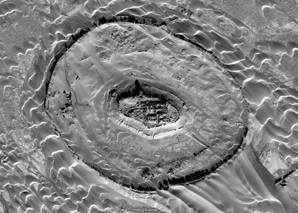 Aerial imagery of Tar-o-Sar, where remains of an ancient Parthian civilization have been unearthed.