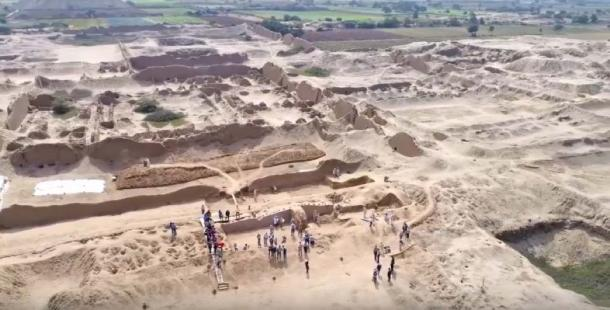 Aerial of the area of  Chan Chan city in Trujillo, Peru currently being excavated. (Youtube Screshot)