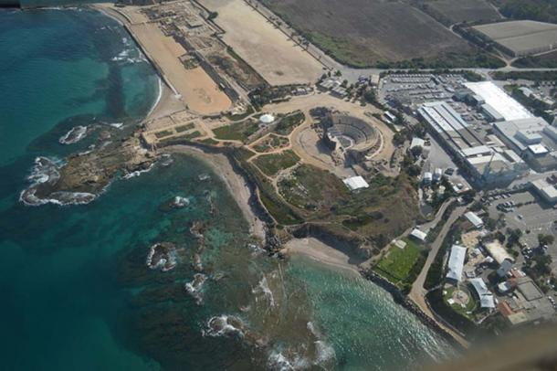 Aerial photo of Caesarea Maritima.