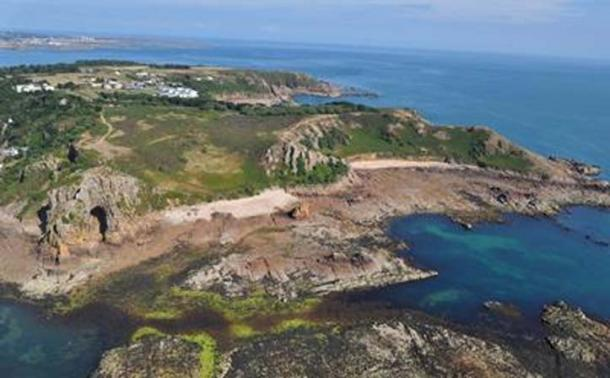 Aerial photo of La Cotte de St Brelade. Credit: Dr Sarah Duffy