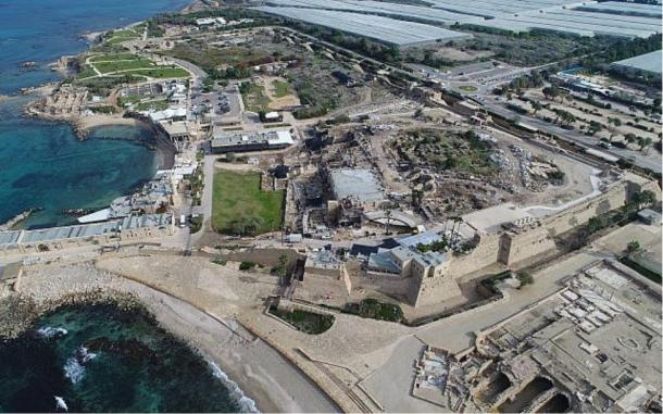 Aerial photo of the ancient port of Caesarea Maritima where the Byzantine inscription was found. (Yaakov Shimdov/Israel Antiquities Authority)
