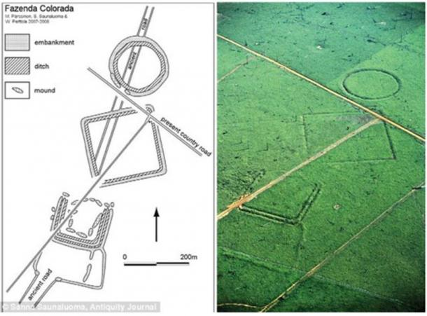 Aerial photograph and plan of earthworks at Fazenda Colorada, which is made up of clear geometric shapes. Excavations suggest inhabitants lived in the three-sided square.