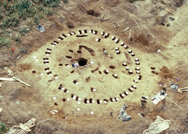 Aerial shot of Adena ceremonial circle at the Neibert Mound site, 1992.