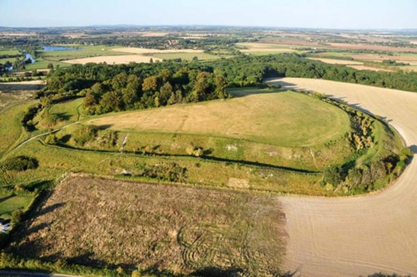 Aerial view of Castle Hill, Wittenham Clumps