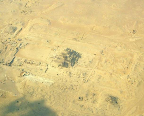 Aerial view of Djoser's step pyramid at Saqqara