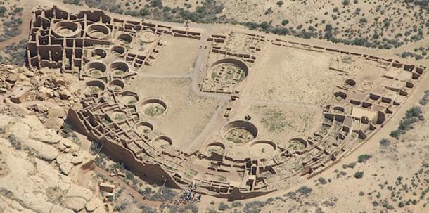 Aerial view of Pueblo Bonito at Chaco Canyon, California, USA