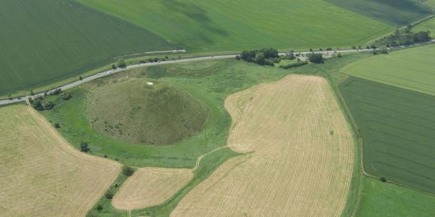 Aerial view of Silbury Hill, Wiltshire, England.