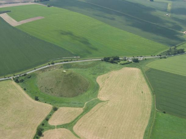 Aerial view of Silbury Hill and the A4 road