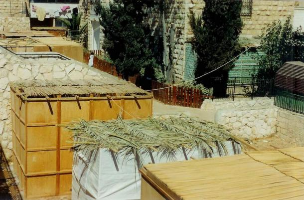 Aerial view of Sukkah booths where Jewish families eat their meals and sleep throughout the Sukkot holiday.