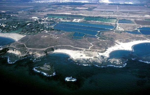 Aerial view of Tel Dor, Israel.
