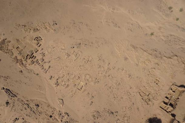 Aerial view of cemetery two, which is located beside the al-Ghazali Christian monastery, in Sudan.