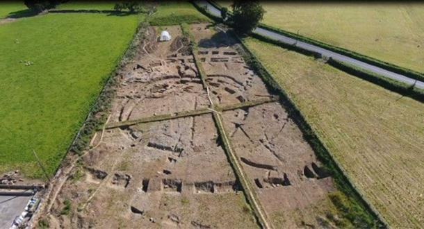 Aerial view of excavations at the site of a medieval ringfort found at Ranelagh in Ireland.