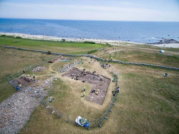 Aerial view of excavations at Sandby Borg.