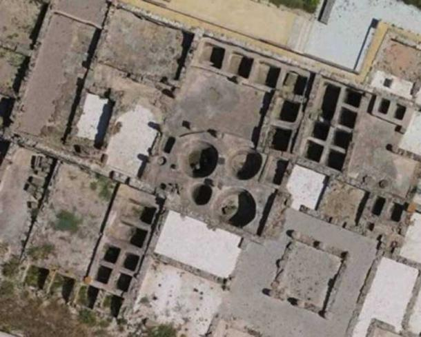 Aerial view of some of the fish-salting tanks (cetaria) in the ancient Roman city of Baelo Claudia, near today's Tarifa in Spain. The largest circular tank is 3 meters wide, with a 18m³ capacity. Source: D. Bernal-Casasola, University of Cadiz.