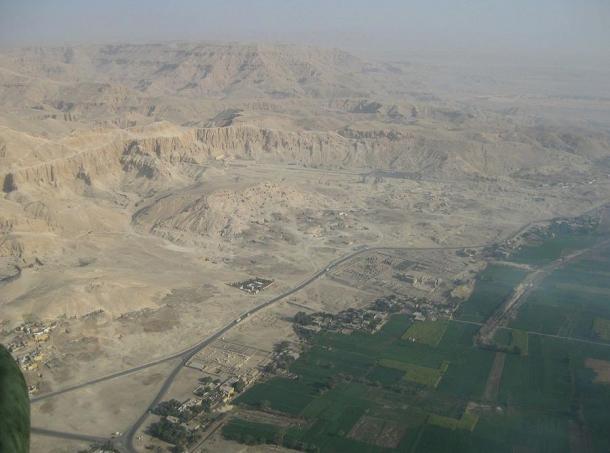 Aerial view of the Theban Necropolis, Egypt.
