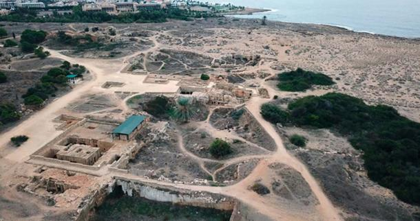 Aerial view showing some of the complexes at the Tomb of Kings site in Paphos.