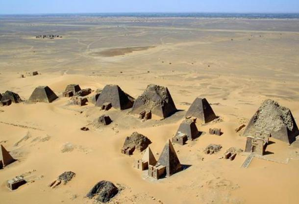 Aerial view of pyramids at Meroe in 2001.