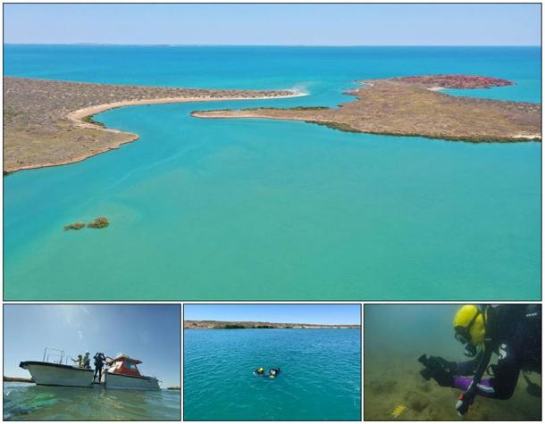 Aerial view of Cape Bruguieres Channel at high tide (Photo: J. Leach); (below) divers record artefacts in the channel (Photos: S. Wright, J. Benjamin, and M. Fowler). (Image: DHSC / PLOS ONE)