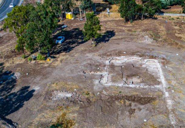 Aerial view of 1,300-year-old church in the village of Kfar Kama, near Mount Tabor. (Alex Wiegmann, Israel Antiquities Authority)
