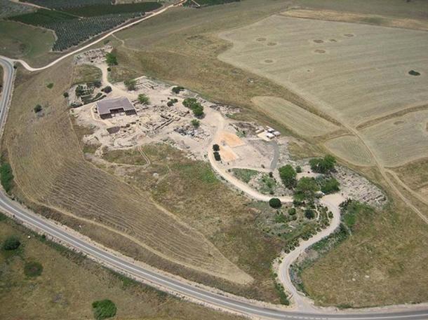 Aerial view of the ancient city of Hazor (Tel Hatzor), Israel.