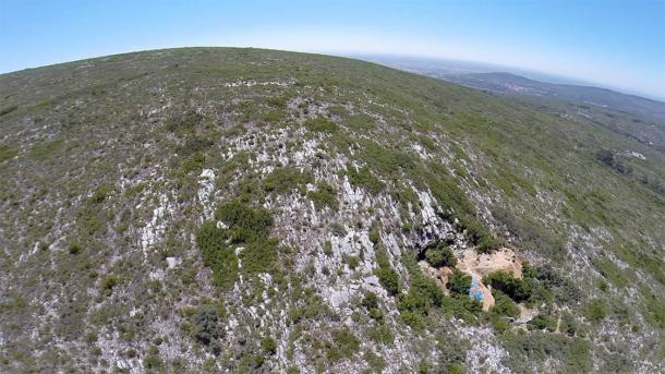 Aerial view of Lapa do Picareiro in central Portugal, where the Aurignacian artifacts were unearthed. (Jonathan Haws / University of Louisville)