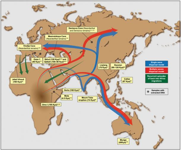 Putative migration waves out of Africa and location of some of the most relevant ancient human remains and archeological sites. The placement of arrows is indicative.