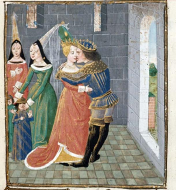 Agathocles kisses the widow of Damas. (Mikystar / Public Domain)