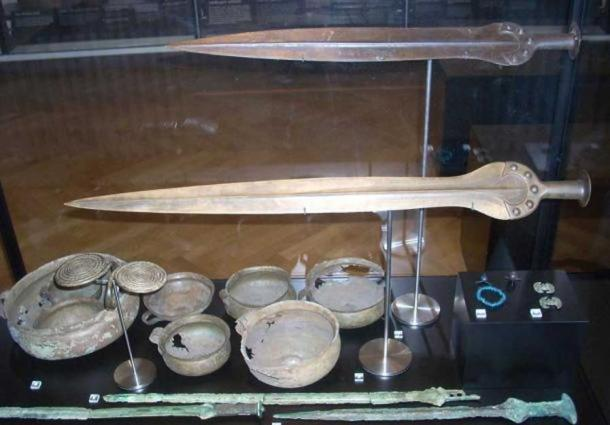 Bronze Age swords and other artifacts in the Nationalmuseet (National Museum) in Copenhagen, Denmark.