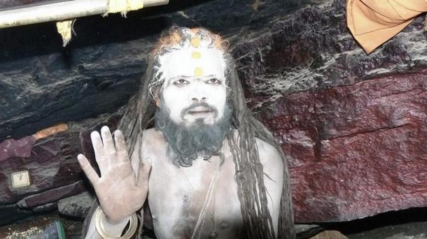 An Aghori in a cave near Badrinath, India.