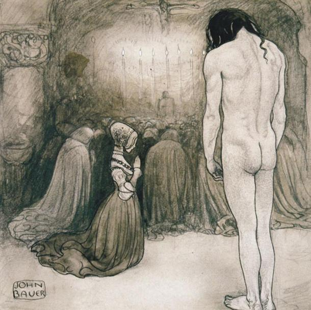 """Agneta, look at me,"" he pleaded. But she did not raise her face. She kneeled on the spot as still as a statue. Illustration by John Bauer."